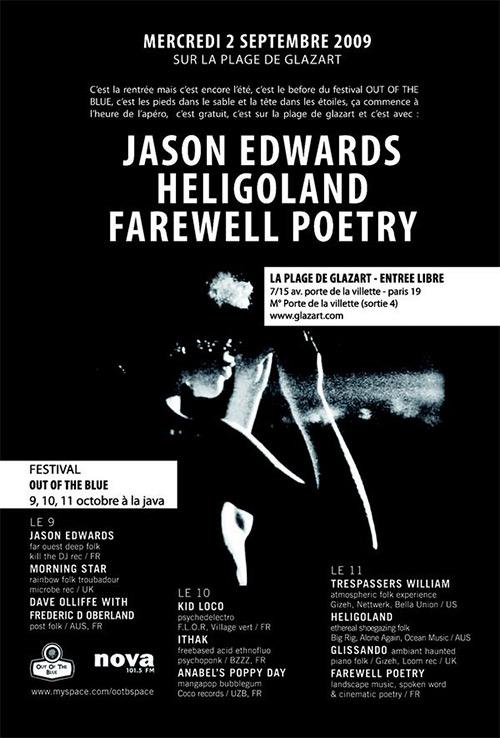 Concert à venir : Jason Edwards, Heligoland et Farewell Poetry sur la plage de Glazart