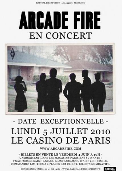 Arcade Fire en concert au Casino de Paris