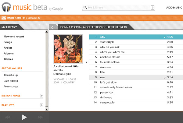 Google Music : interface web