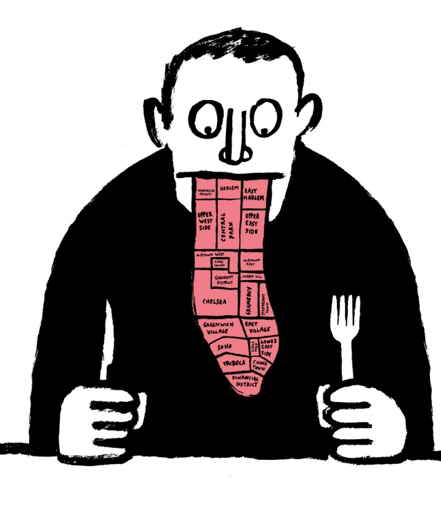 """Series of illustration for Adam Platt's annual """"where to eat"""" guide, in New York Magazine © Jean Jullien"""