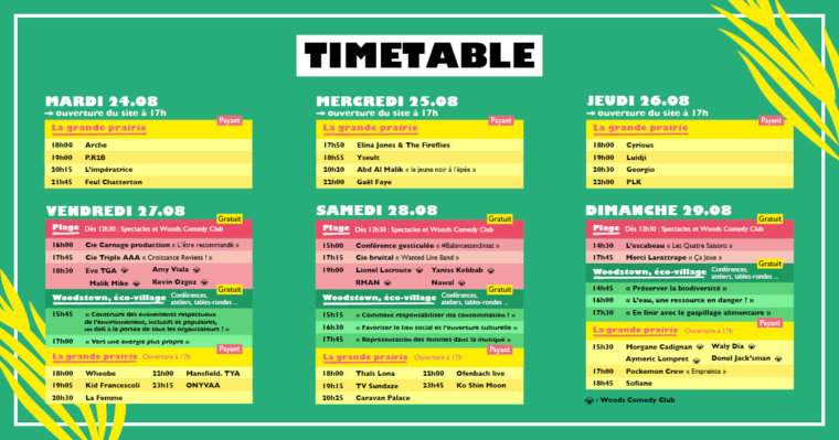 woodstower time table